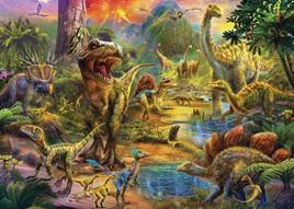 Holdson's 100XL Piece Jigsaw Puzzle:  Landscape Of Dinosaurs