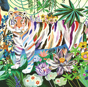 Djeco Gallery 1000 Piece Jigsaw Puzzle: Rainbow Tigers