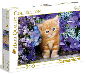 Clementoni 500 Piece Jigsaw Puzzle: Ginger Cat In Flowers