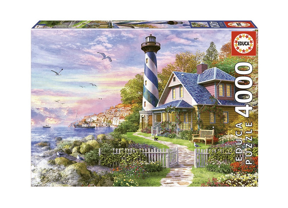 Educa 4000 Piece Jigsaw Puzzle: Lighthouse At Rock Bay
