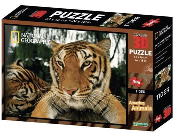 buy at www.puzzlesnz.co.nz National Geographic 500 piece puzzle 3D Tigers