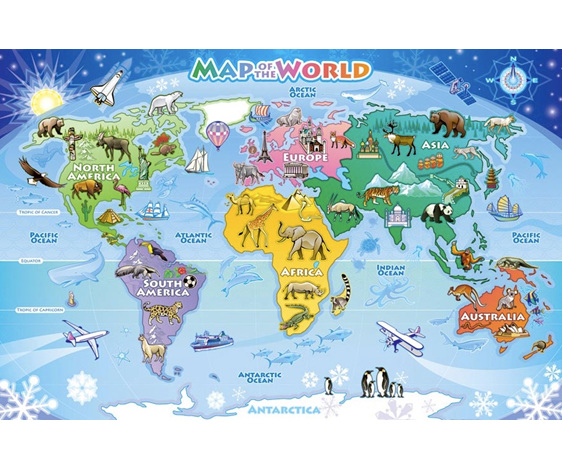 Cobble Hill 48 Piece Floor Jigsaw Puzzle: Map Of The World - PuzzlesNZ