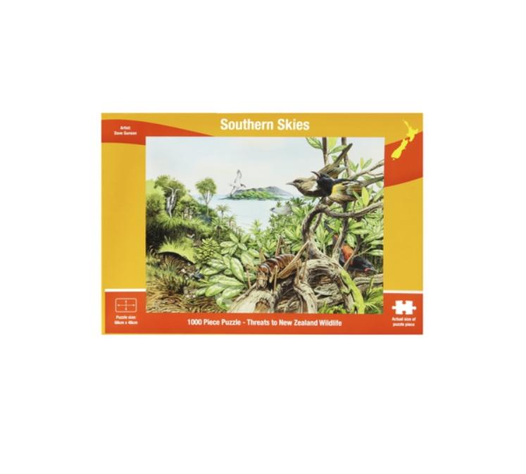 buy at www.puzzlesnz.co.nz Threats to NZ Wildlife 1000 piece jigsaw puzzle