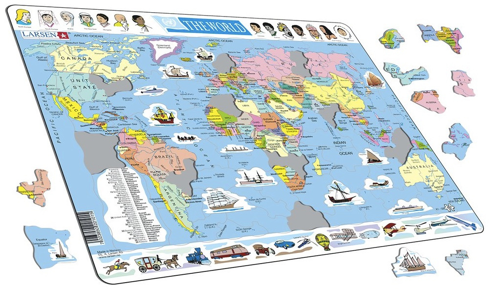 Larsen tray childrens jigsaw puzzles available online nz at www larsen tray jigsaw puzzle political map of world nz1595 gumiabroncs Image collections