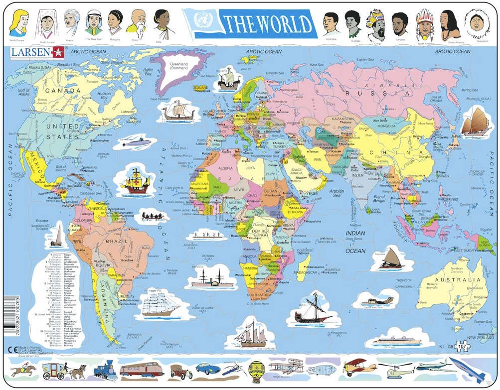 Larsen tray childrens jigsaw puzzles available online nz at www larsen tray jigsaw puzzle political map of the world 107 pieces gumiabroncs Choice Image