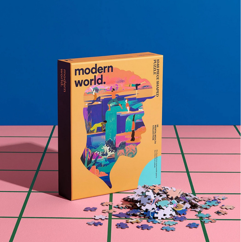 buy at www.puzzlesnz.co.nz Modern World 1046 piece shaped puzzle Mindful