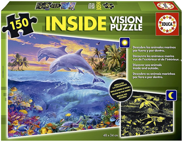 Educa 150 Piece Inside Vision Jigsaw Puzzle: Discover Sea Animals