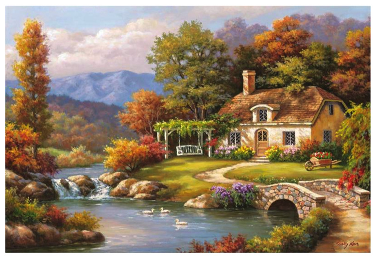 buy Educa 8000 piece jigsaw puzzle Cottage Stream Sung Kim  www.puzzlesnz.co.nz