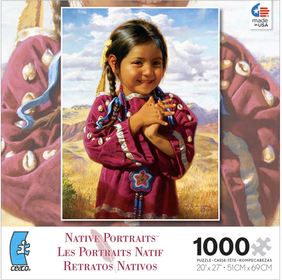 Buy online NZ at www.puzzlesnz.co.nz  Ceaco 1000 Jigsaw American Indian Girl
