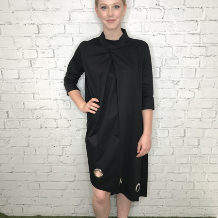 C.REED EYELET DRESS IN BLACK