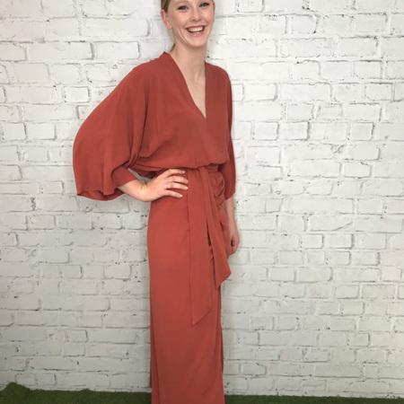 C.REED KIMONO DRESS IN RUST