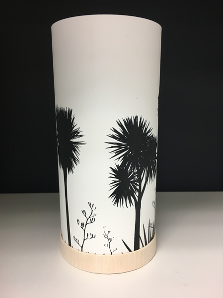 Cabbage Tree Lantern - Black Silhouette - with LED Light