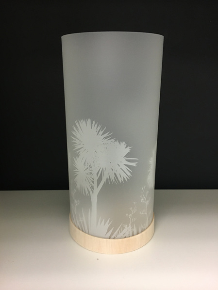 Cabbage Tree Lantern - White Silhouette - with LED Light