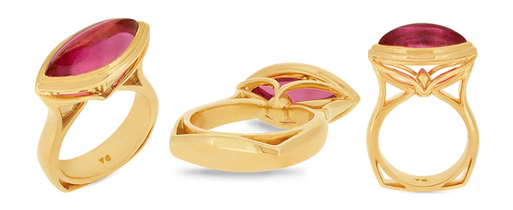 Cabochon Cut Pink Rubellite Solitaire Ring