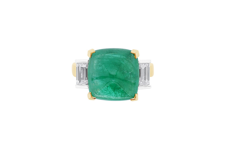 Cabochon Emerald and Diamond Three Stone Ring