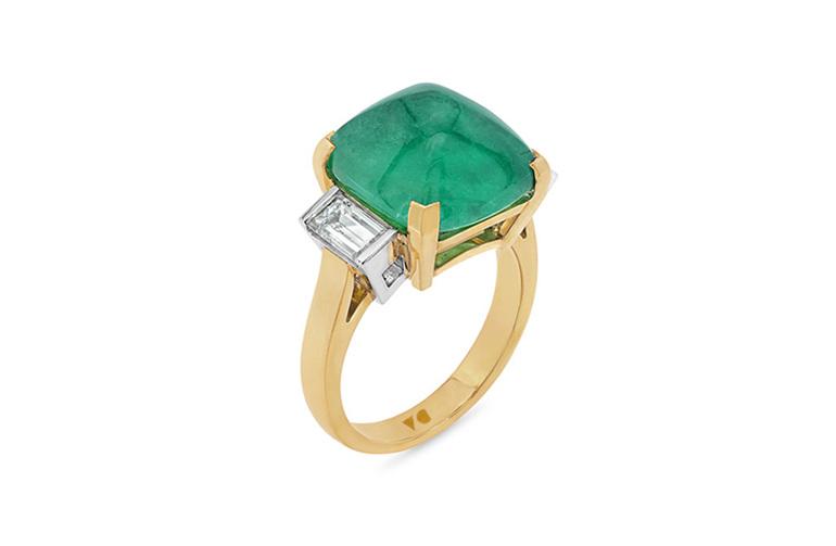 Cabochon Emerald and Diamond Three Stone Ring