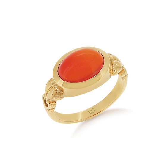 Cabochon Fire Opal, Dress Ring, Yellow Gold Dress Ring