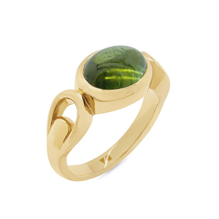 Cabochon Green Tourmaline Dress Ring