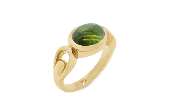 Cabochon green tourmaline yellow gold dress ring