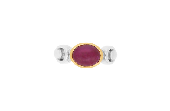 Cabochon ruby yellow and white gold dress ring