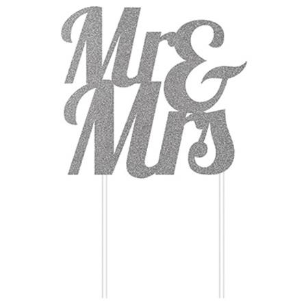 Cake topper Mr & Mrs glittered cardboard - gold or silver.