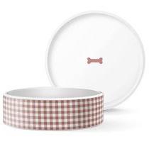 Calico Brick Dog Bowl - Medium
