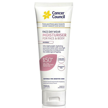CANCER COUNCIL FACE & BODY MOISTURISER SPF 50+ 150ML