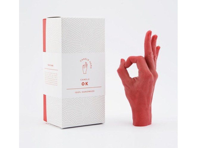 Candle Hand OK Red