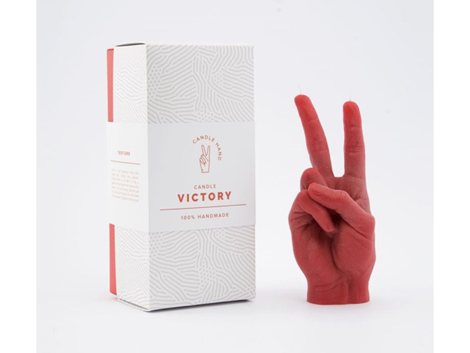 Candle Hand Victory Red