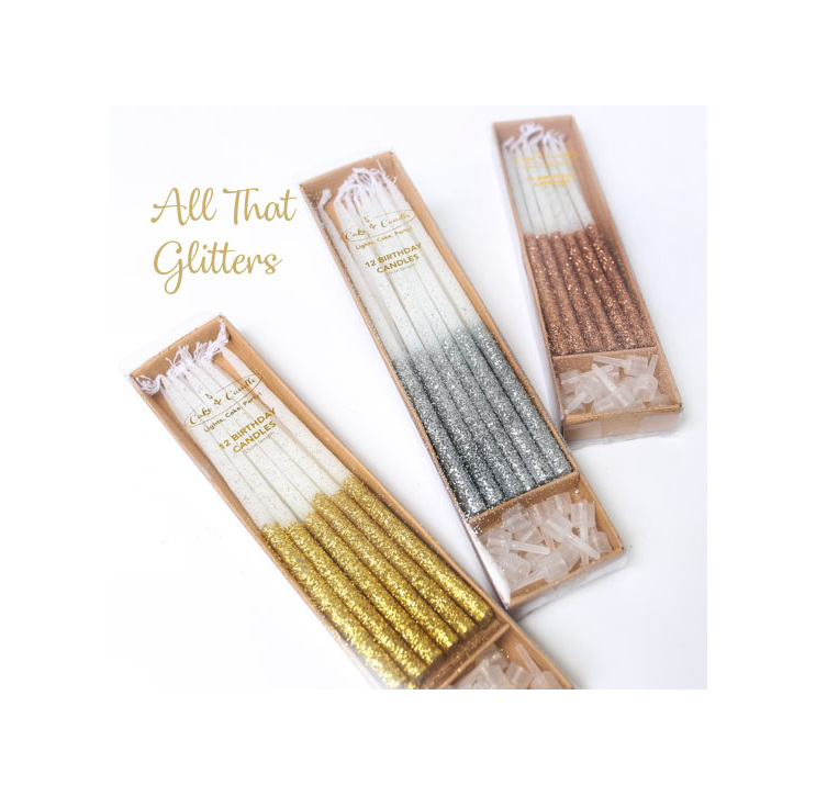 Candles Glitter-Gold-pkt 12