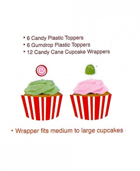 Candy Cupcake Wraps with Toppers x 12