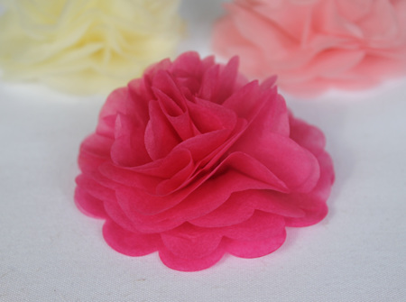 Candy pink tissue flowers