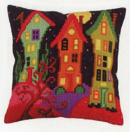Canvas Cushion Kit - 3 Tall Houses (CDA5258)