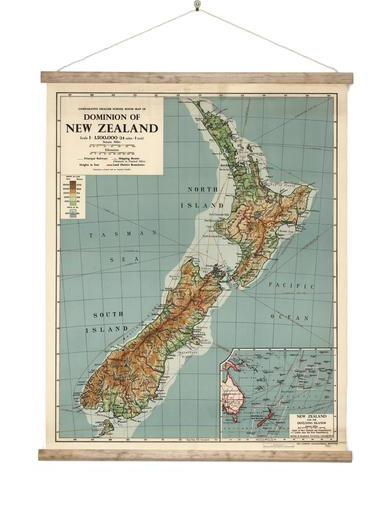 Canvas Dominion Map of  New Zealand