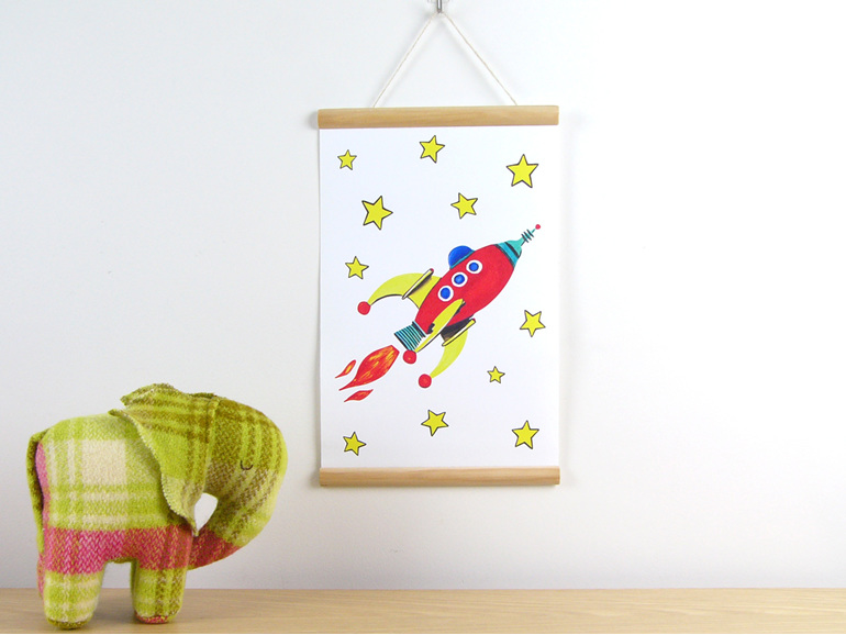 Canvas print red rocket