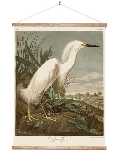Canvas White Heron Wall Hanging