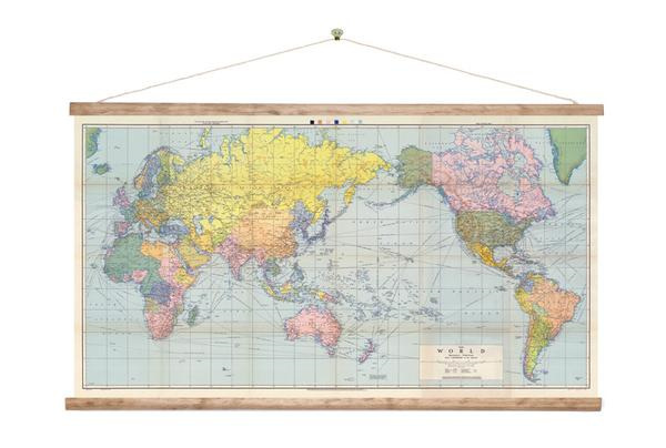 Canvas world map wall hanging little rock kaikoura large vintage style world map wall chart with nz in the middle mounted using aged wood batons and cotton rope ready for you to hang the polyester canvas gumiabroncs Image collections