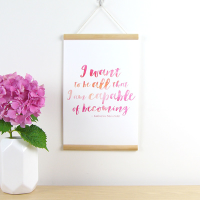 I want to be all that I am capable of becoming quote hanging canvas print