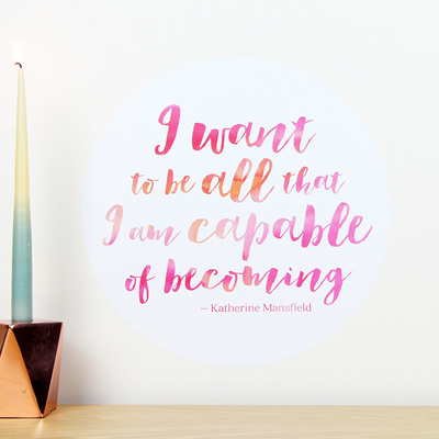 I want to be all that I am capable of becoming quote dot wall decal