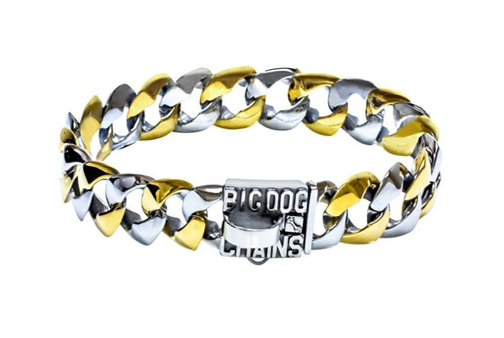 Capone Two Tone Gold Dog Collar by Big Dog Chains