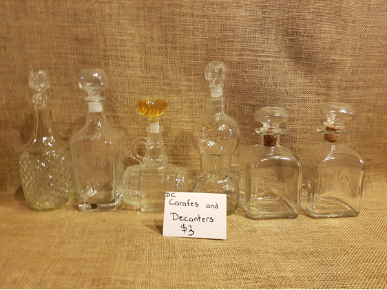 Carafes and decanters for wedding and event hire
