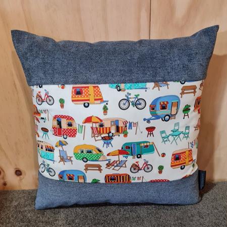 Caravan Camping Cushion Cover - Denim Blue