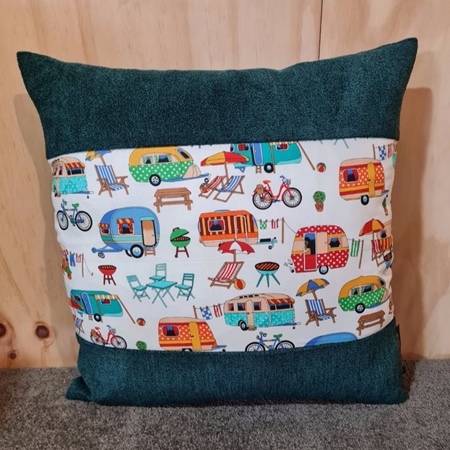 Caravan Camping Cushion Cover - Green