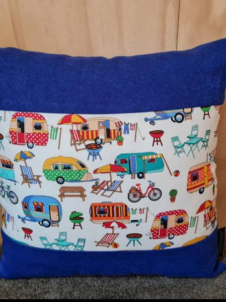 Caravan Camping Cushion Cover - Royal Blue