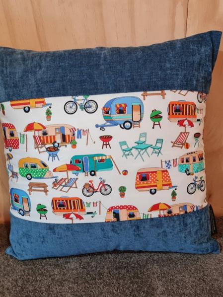 Caravan Camping Cushion Cover - Teal
