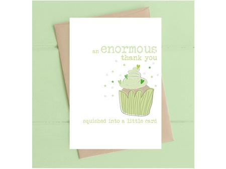 Card Enormous Thank You Green Cupcake