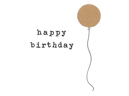 Card Happy Birthday Brown Balloon