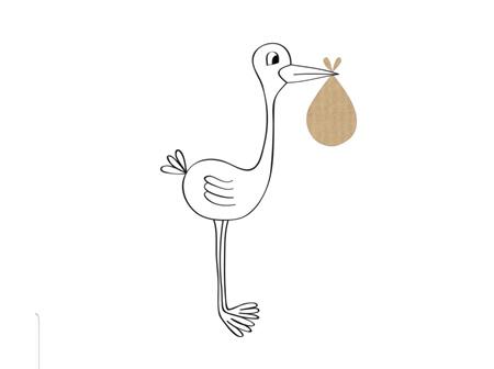 Card Stork White