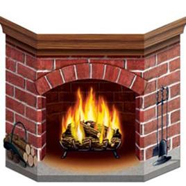 Cardboard brick fireplace stand up