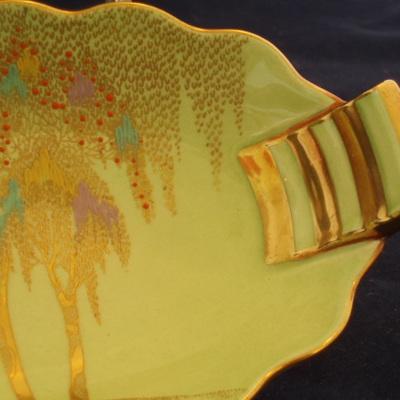 Carlton Ware gold and green tab handle dish